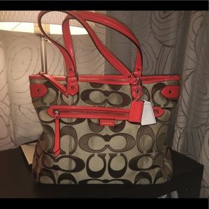 Brown monogram Coach Tote